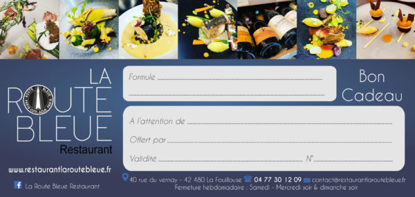 Carte Cadeau, restaurant La Route Bleue